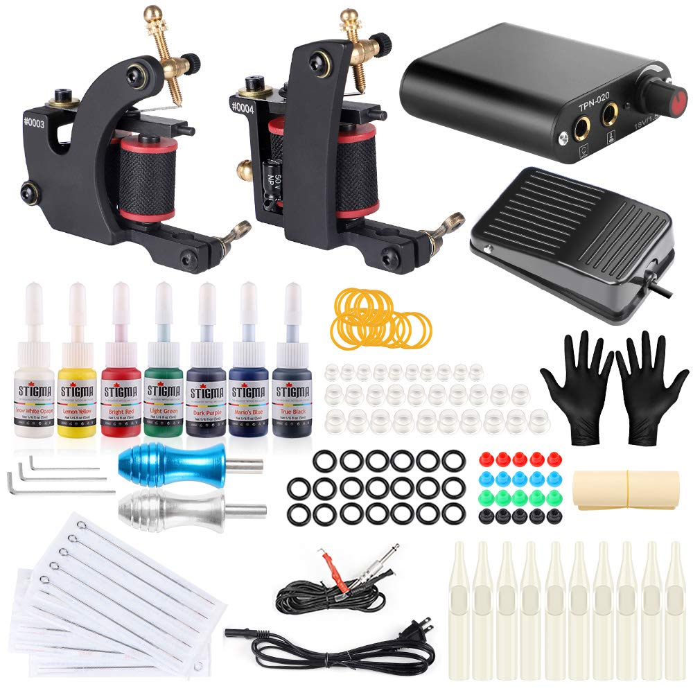 Stigma 2 Pro Coil Tattoo Kits Guns Aluminiun Alloy Grips 7Inks Professional Power Supply for Liner and Shader TK-ST202 by Stigma