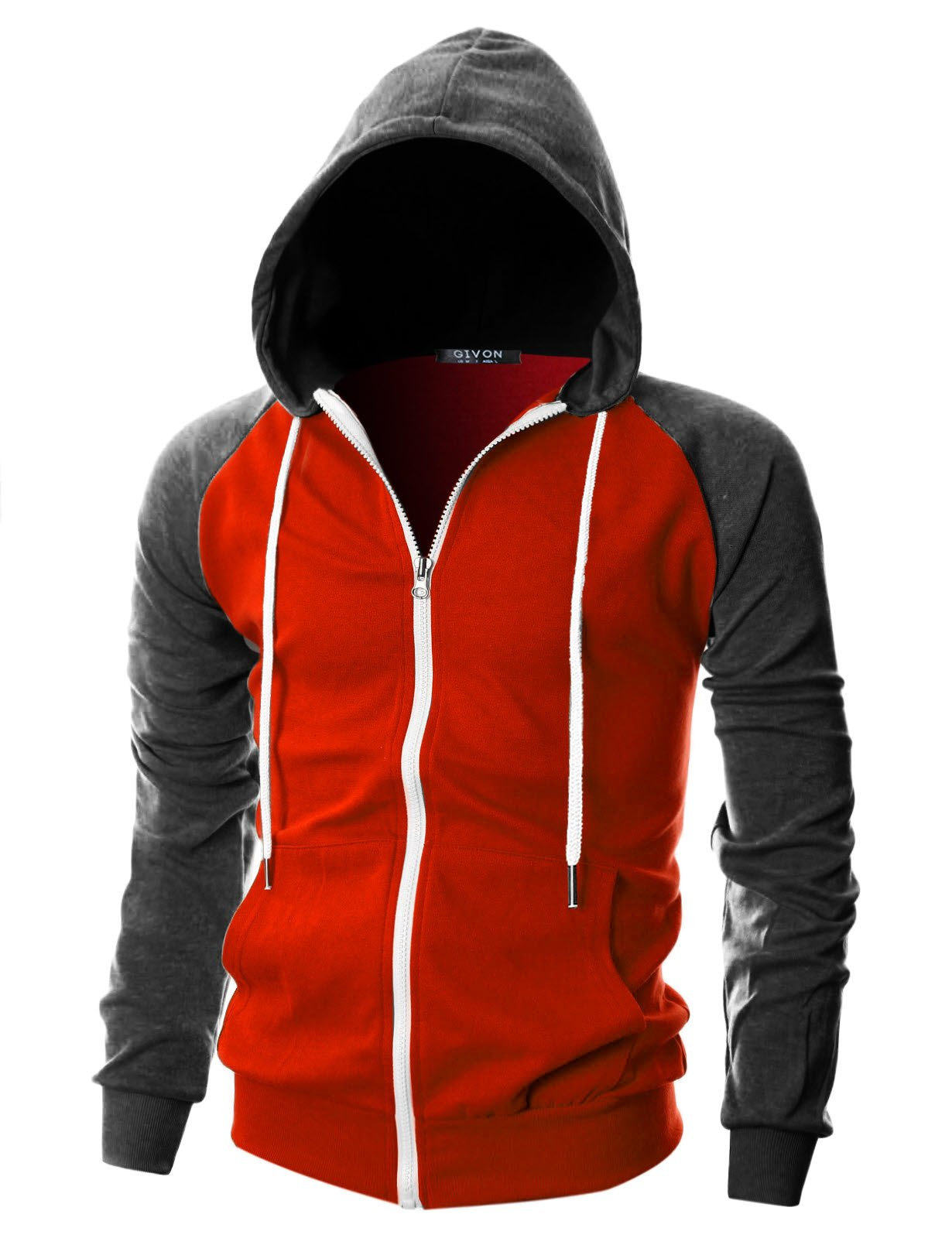 GIVON Mens Slim Fit Long Sleeve Lightweight Raglan Zip-up Hoodie with Kanga Pocket/DCF017-REDCHARCOAL-M