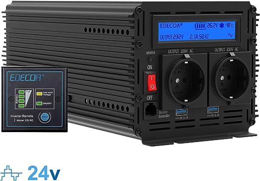 Edecoa Wechselrichter 2000w Spannungswandler 24v 230v Wechselrichter Modifizierte Sinus 24v 220v Lcd Mit Fernbedienung Und Zwei Usb Ports Auto