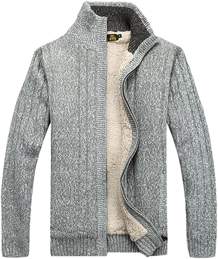 M, Style1-Light Grey MatchLife Mens New Stand Collar Fleece Knitted Sweater Cardigans Coat