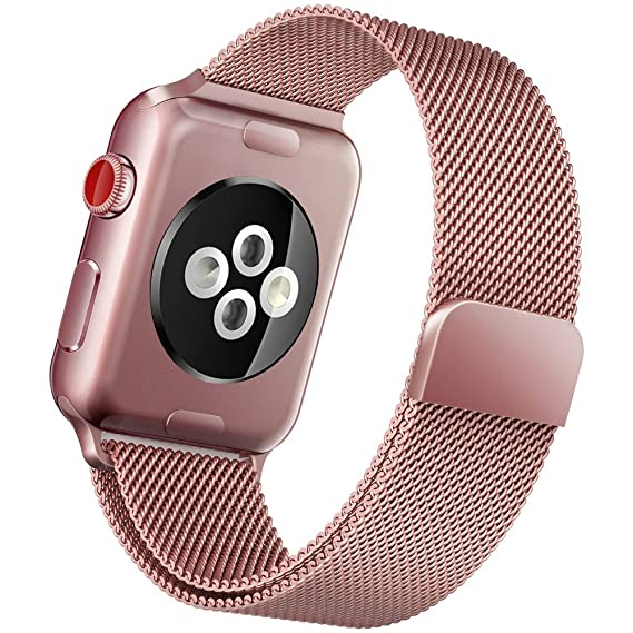 3db1fe5a8ee Pulseira Milanese Rose Gold Para Apple Watch 42mm Aço Inox  Amazon ...