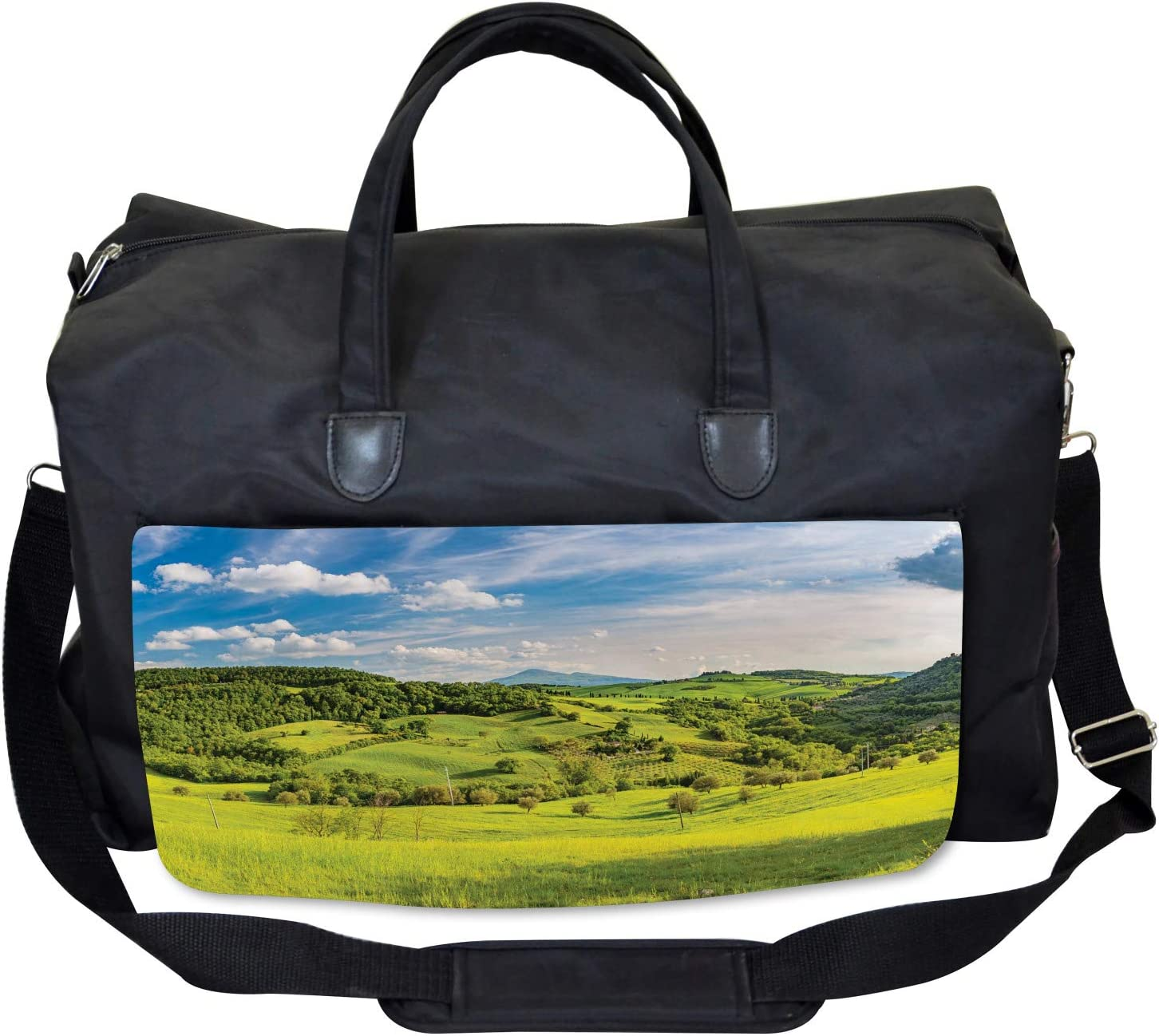 Large Weekender Carry-on Ambesonne Landscape Gym Bag Tuscany Italy Farms