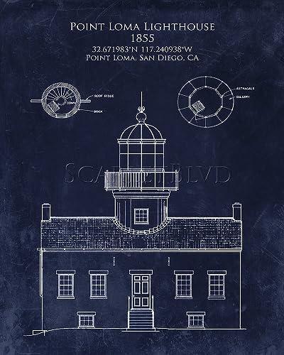 Amazon point loma lighthouse blueprint art handmade point loma lighthouse blueprint art malvernweather Images