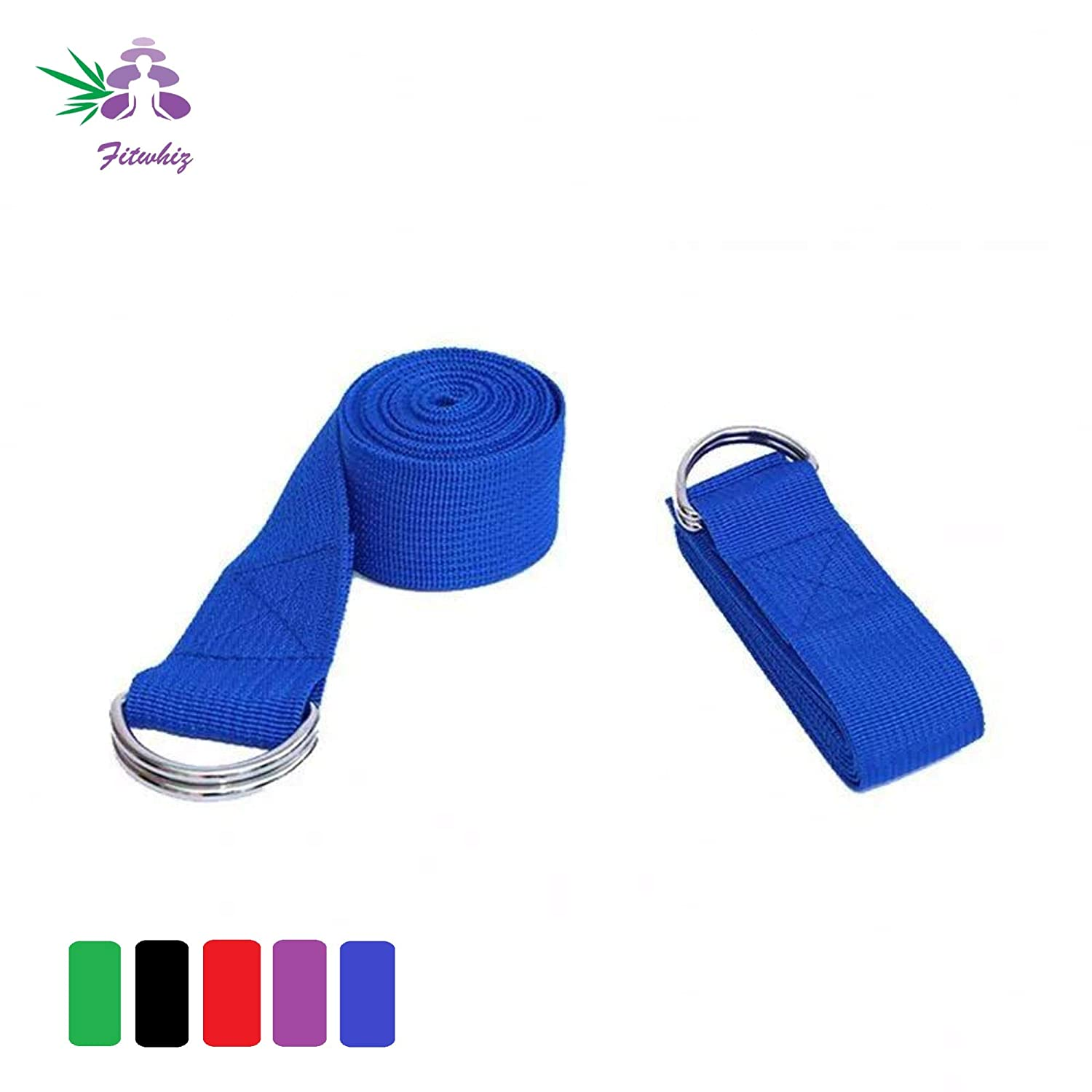 Fitwhiz Yoga Exercise Adjustable Straps Flexibility /& Therapy 6ft // 12ft - Durable Exercise Straps w//Adjustable D-Ring Buckle for Pilates /& Gym Workouts Stretching Balancing