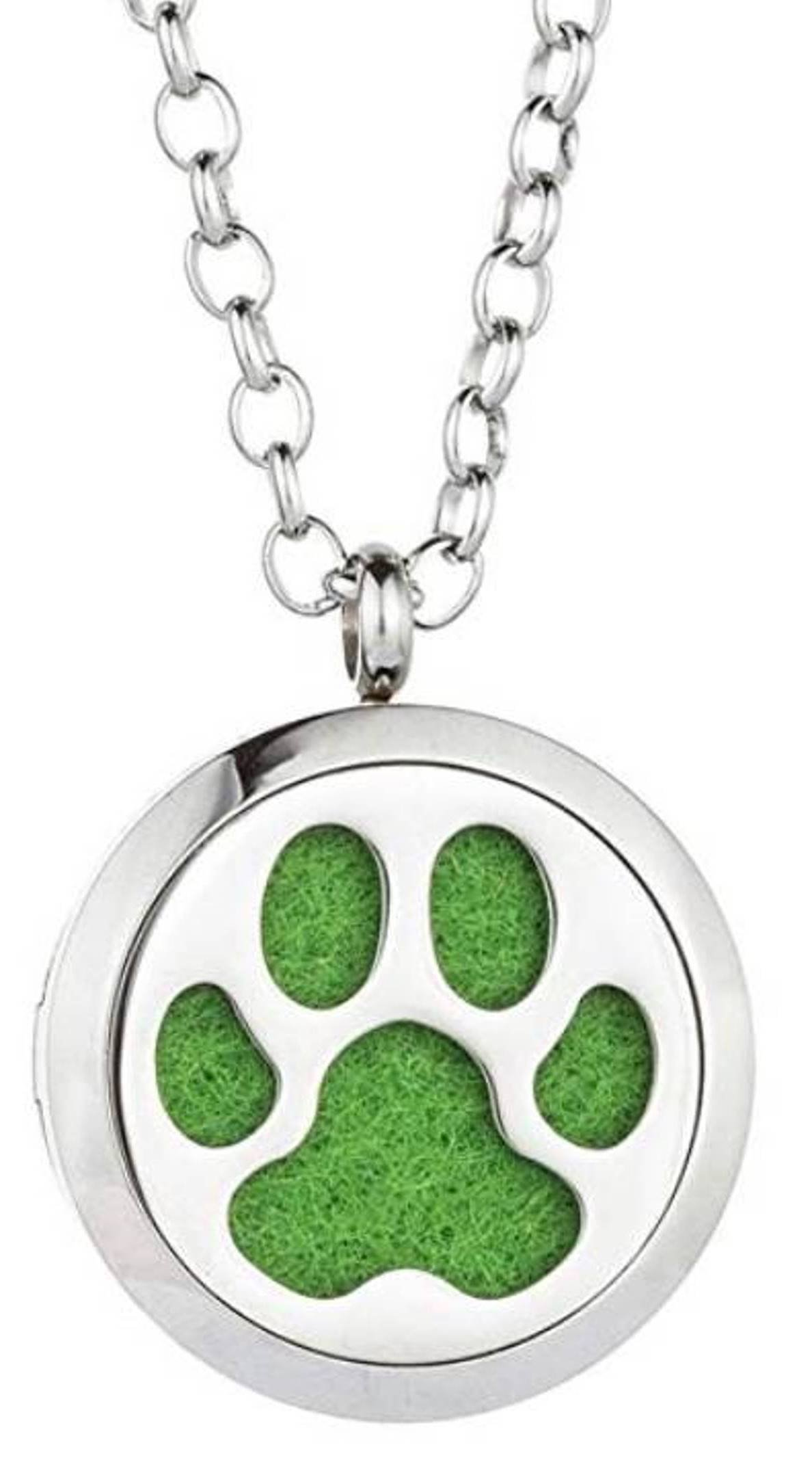 Essential Oil Diffuser Necklace - Dog Paw Design- Aromatherapy Jewelry - Hypoallergenic 316L Stainless Steel Locket Pendant with 12 Assorted Colorful Pads, 21'' Adjustable Chain