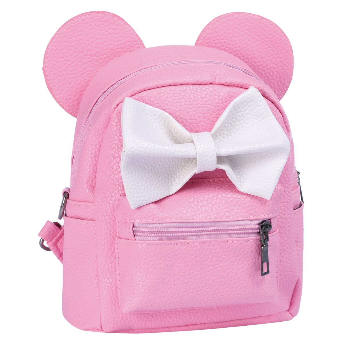 Women Kids Girls Leather Shoulder Backpack Cute Mini Cartoon Mouse Ear Straps Bag Child Student School Small Bookbag Casual Travel Outdoor Fashion Bowknot PU Satchel/ Rucksack Daypacks Pink