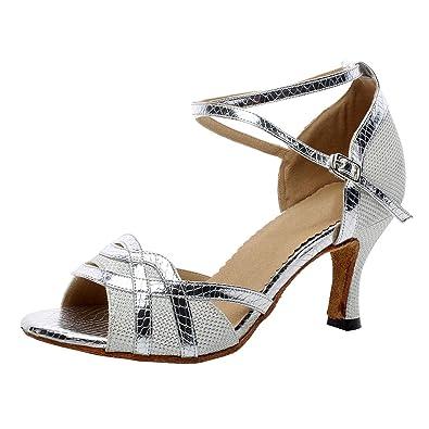 buy online 7cde2 f43f6 Naudamp Glitter Flare Tacco Elegante Scarpe da Ballo Latino Donna Salsa da  Ballo Partito Scarpe