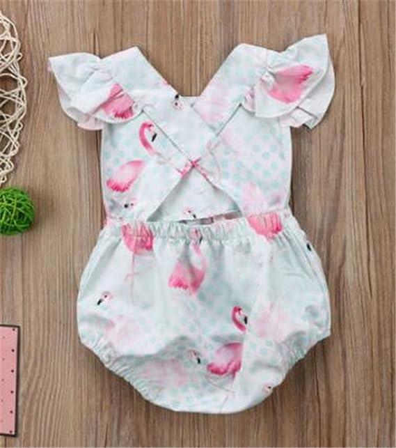 cad8fd82adca Amazon.com  Baby Girls Cartoon Flamingo Print Ruffle Sleeve Romper One-Piece  Bodysuit Sunsuit Outfits  Clothing