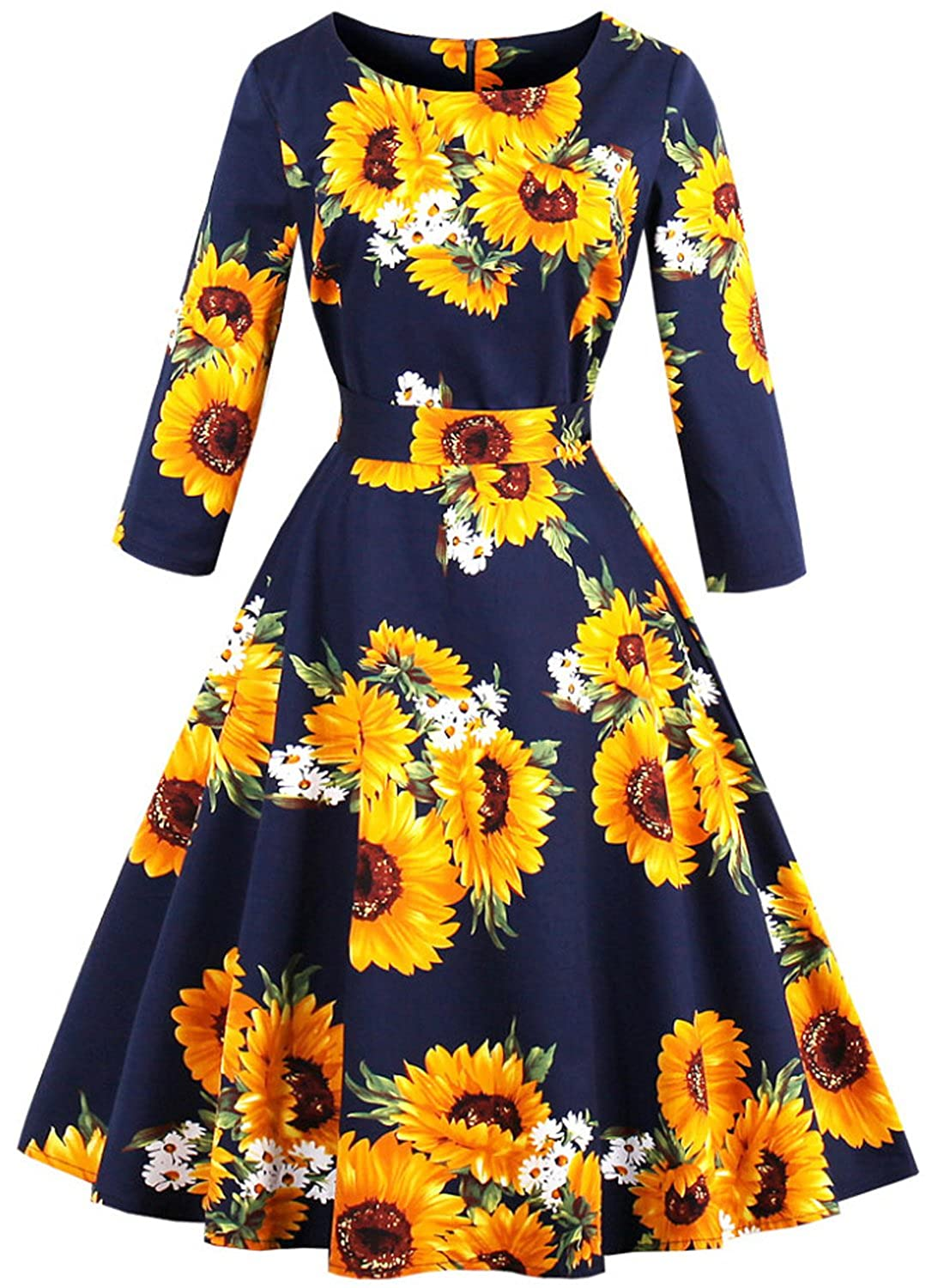 MERRYA Women's Vintage 1950s Floral Print Long Sleeve Cocktail Swing Dress