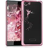 kwmobile Étui transparent élégant avec Design fée pour Wiko Fever 4G en rose foncé transparent