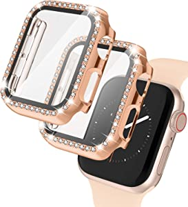 2 Pack Apple Watch Case with Tempered Glass Screen Protector for Apple Watch 42mm, Bling Diamond Rhinestone Bumper Full Cover Protective Case Compatible with iWatch Series 3/2/1, Rose Gold