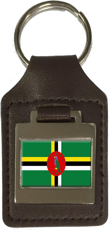 Leather Keyring Engraved Dominica Flag