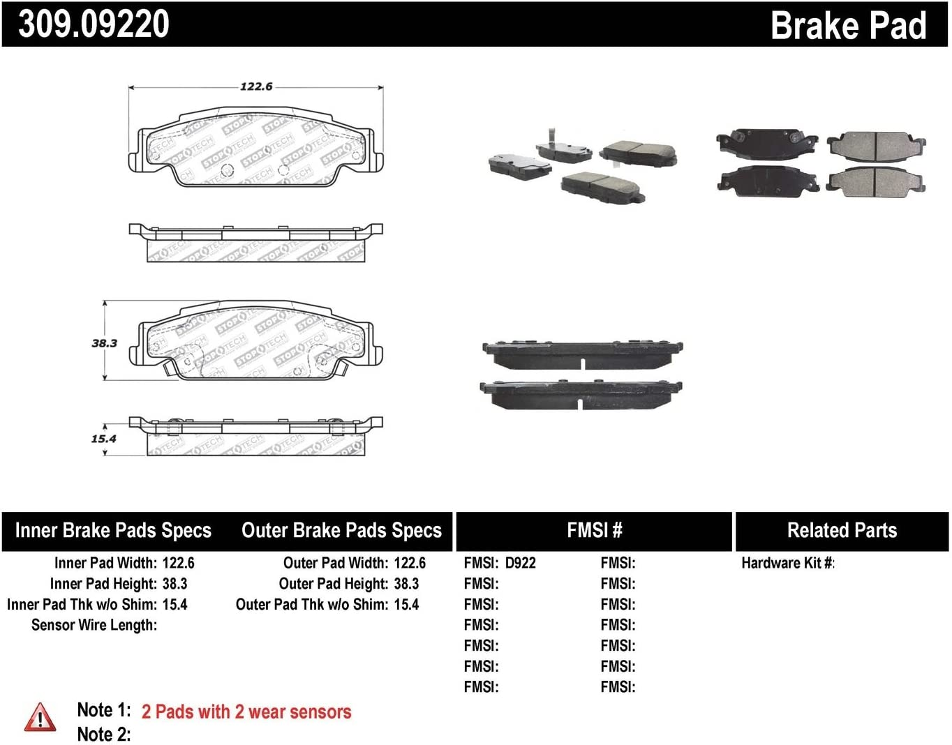 StopTech 309.09220 Street Performance Rear Brake Pad
