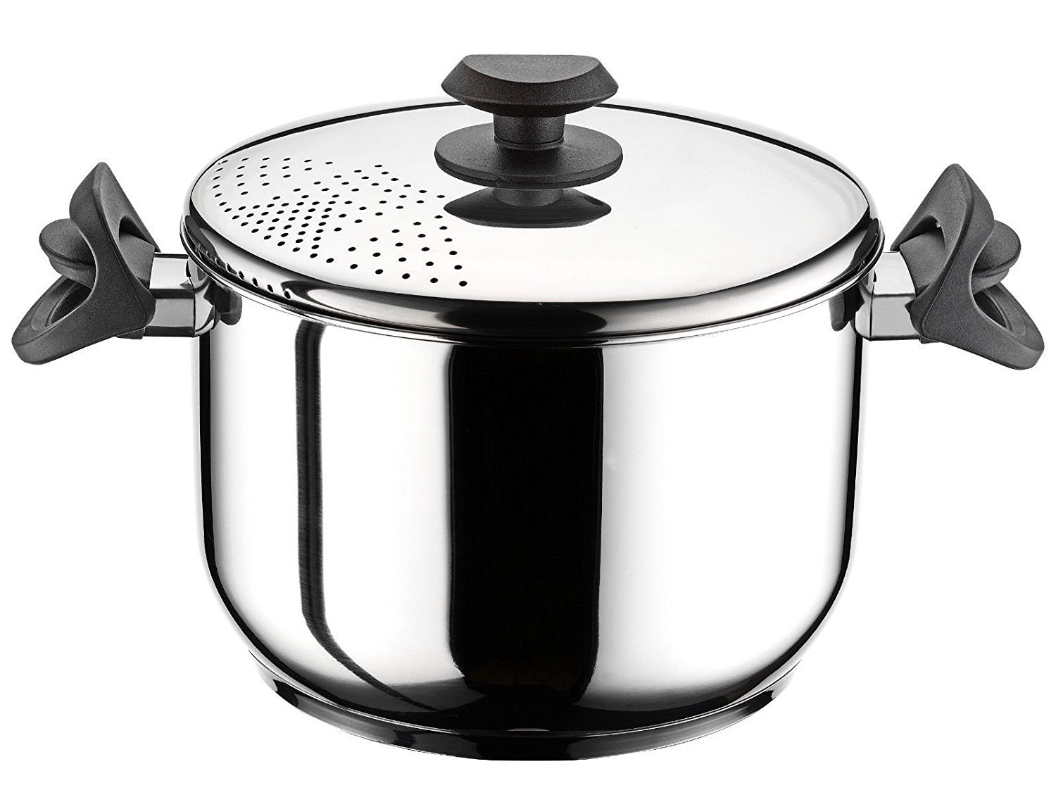 22 cm Stainless Steel Pasta Pot Spaghetti Pot with Locking Strainer Lid Induction GEEZY