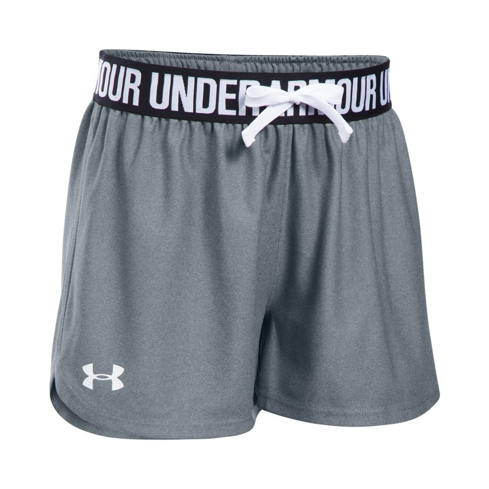 Under Armour Girls' Play Up Shorts, Steel /White, Youth X-Small