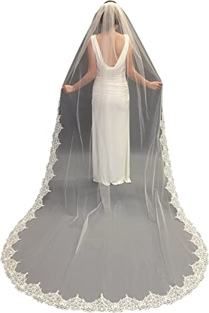 kelaixiang Wedding Bridal Veils White Ivory 2T Accessories with Lace Edge with Comb