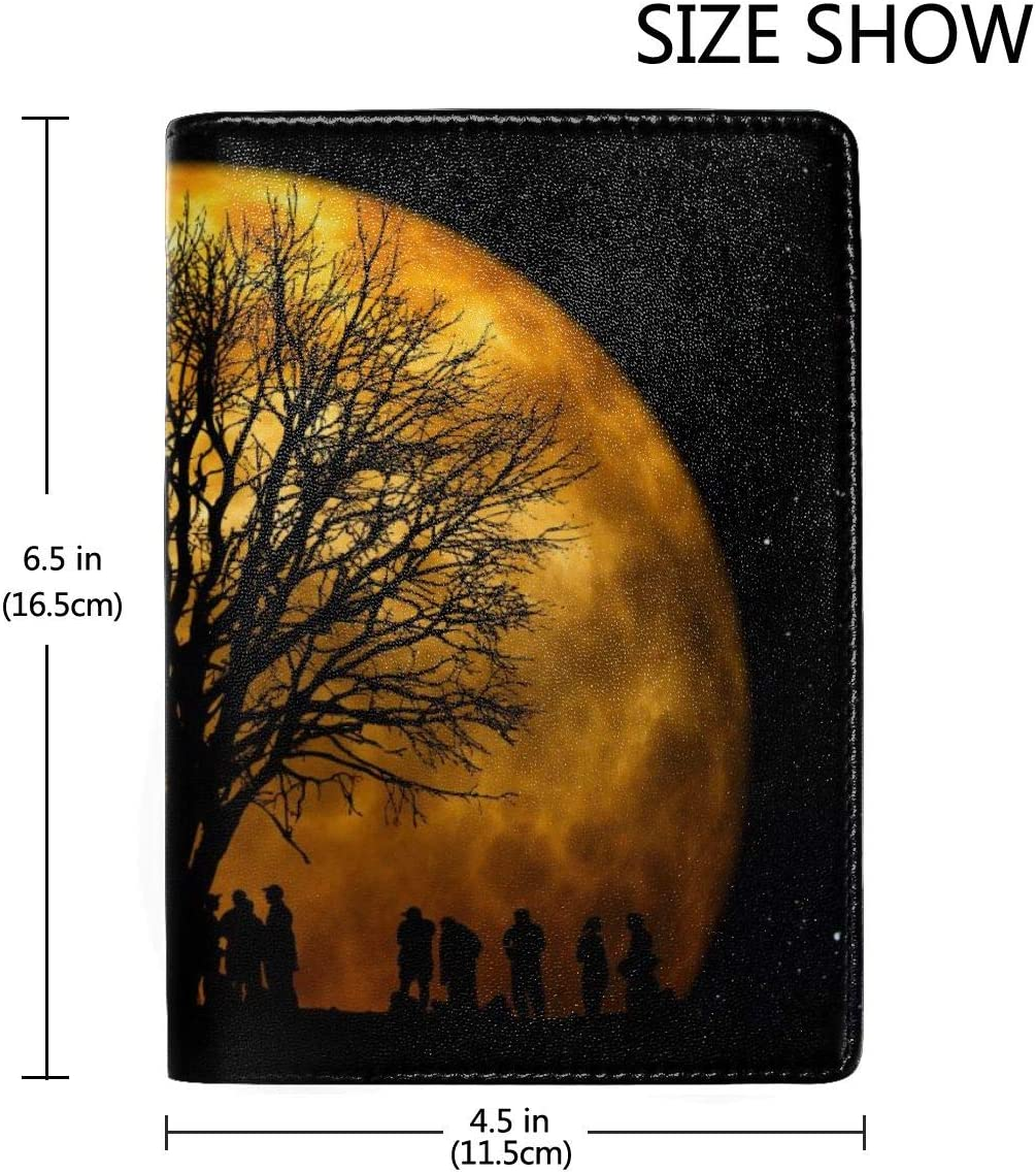 Tree Moon Human Silhouette Fashion Leather Passport Holder Cover Case Travel Wallet 6.5 In