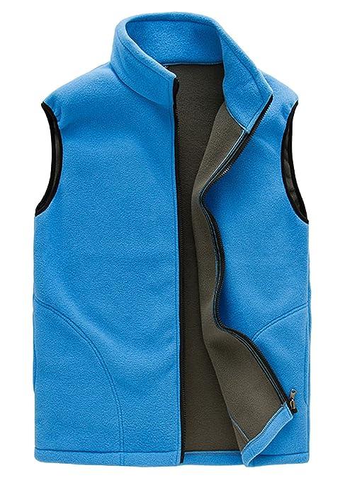 FEOYA - Vest Chaqueta sin Mangas Forro Polar de Hombre Adolescentes Grueso Térmico Chaleco con Cremallera