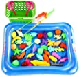 Kids Fishing Game Magnetic 3D Model Fish Playsets for Kids 50 Pcs with Pool and Inflator