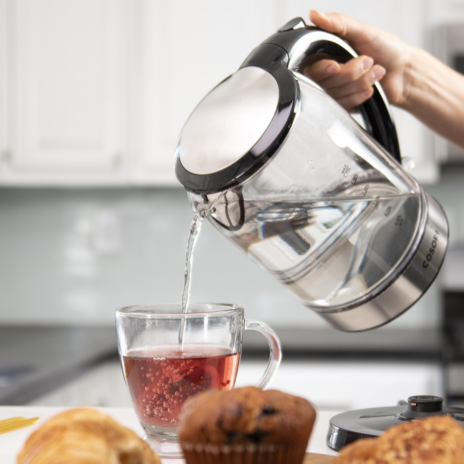 COSORI 1.7L Electric Kettle(BPA-Free), Cordless Glass Boiler,Coffee Pot,Water & Tea Heater with LED Indicator,Auto Shut-Off & Boil-Dry Protection,100% Stainless Steel Inner Lid & Bottom,1500W,CO171-GK by COSORI (Image #6)
