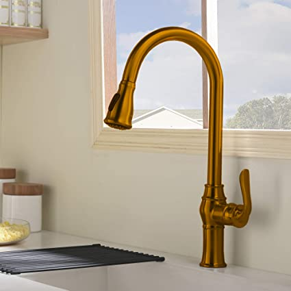 Comllen Tall Bronze Kitchen Sink Faucet Without Deck Plate Not Fulfilled By Amazon