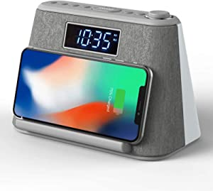 Alarm Clock Bedside Non Ticking LCD Alarm Clock with USB Charger & Wireless QI Charging, Bluetooth Speaker, FM Radio, RGB Mood LED Night Light Lamp, Dimmable Display and White Noise Machine (Grey)