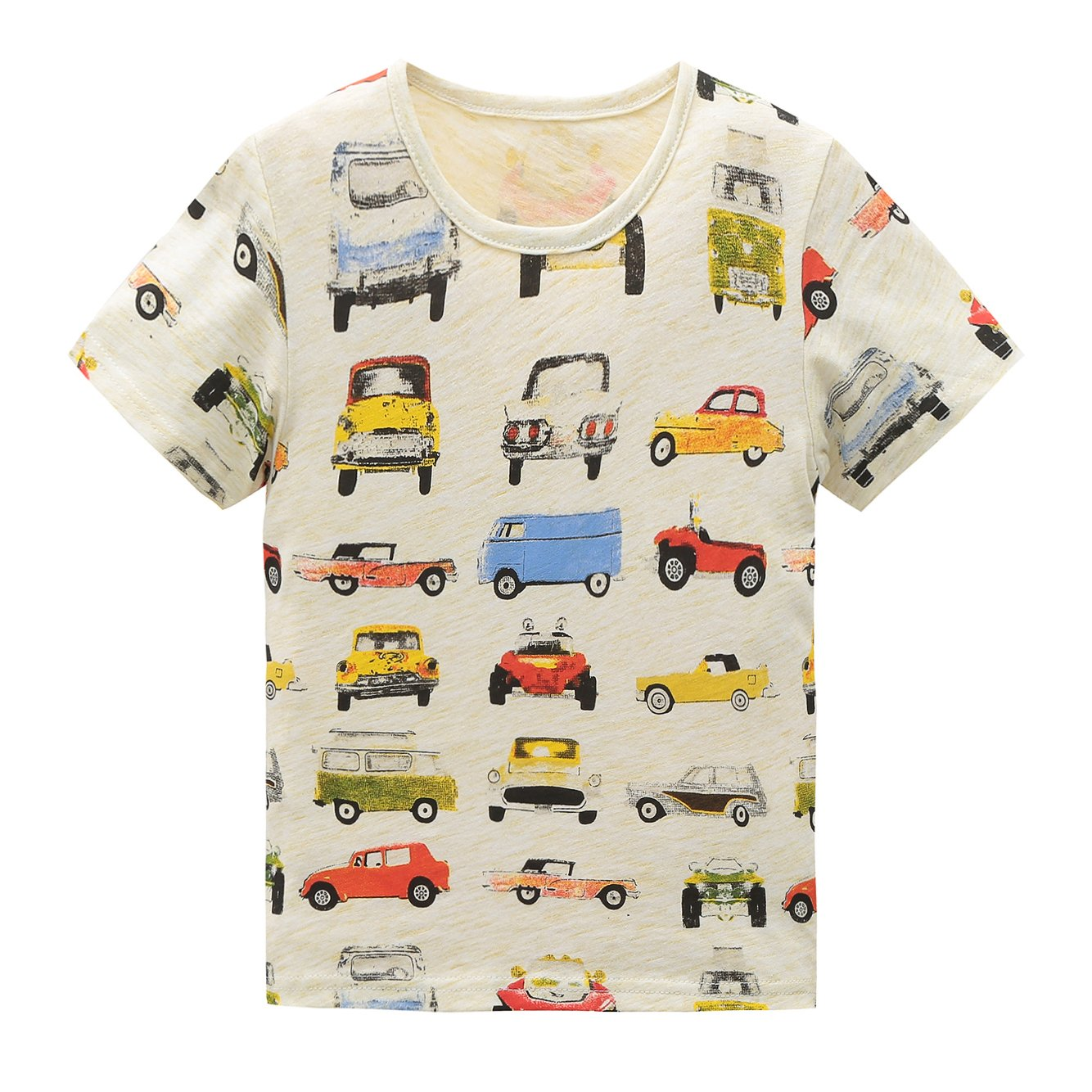 HowJoJo Boys Cotton Short Sleeve T-Shirts Summer Shirt Cars Graphic Tees Beige 4T