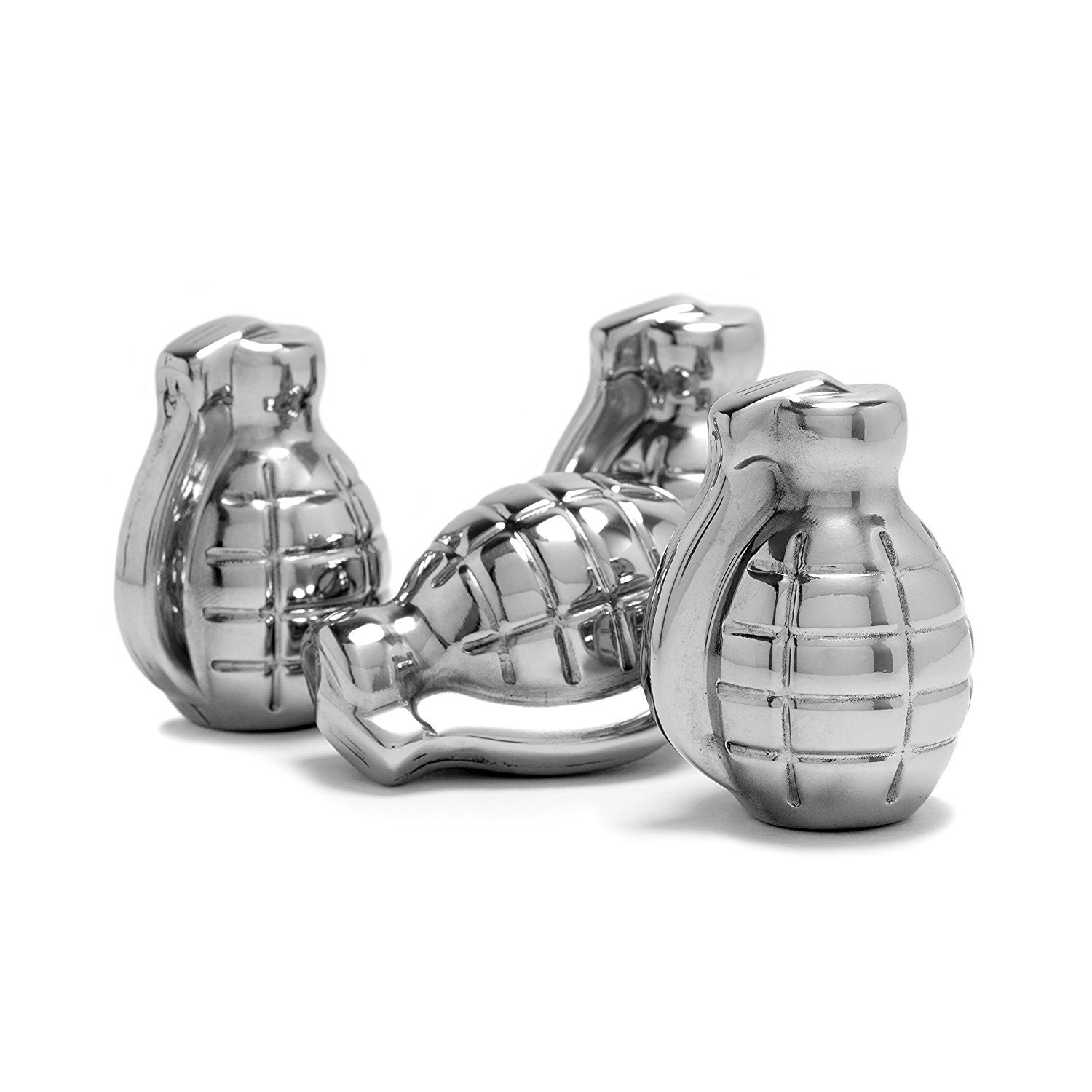 Whiskey Stones Grenade Shaped Stainless Steel with Storage Bag (Set of 4) by BarMe (Image #3)