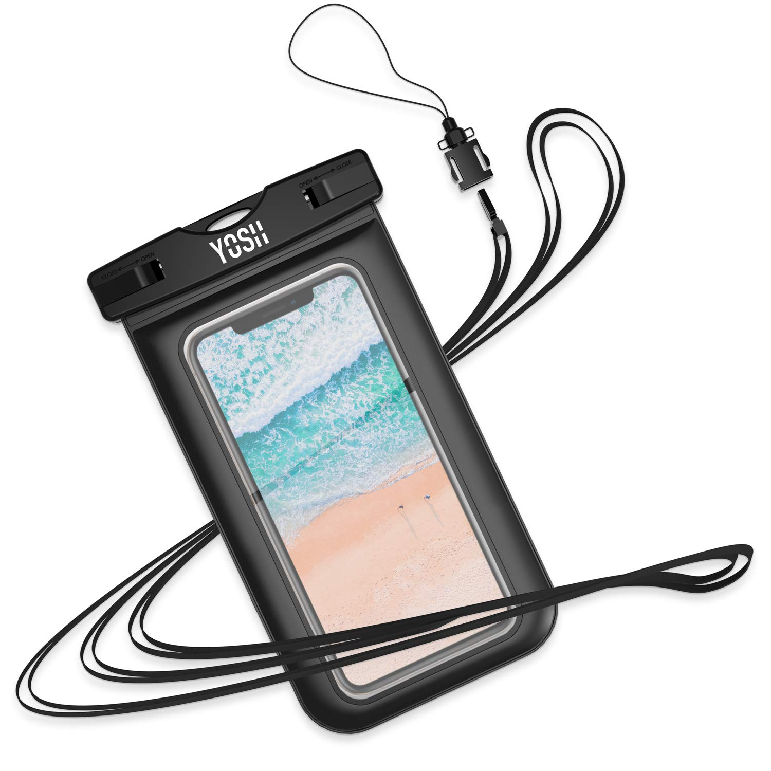 """Waterproof Phone Case YOSH IPX8 Watertight Sealed Underwater Waterproof Phone Cases Pouch Bag Dry Bag with Lanyard for iPhone X Xr 6s 6 Plus Samsung S9 S8 S7 J3 Huawei Moto G6 Nokia LG up to 6"""" product image"""