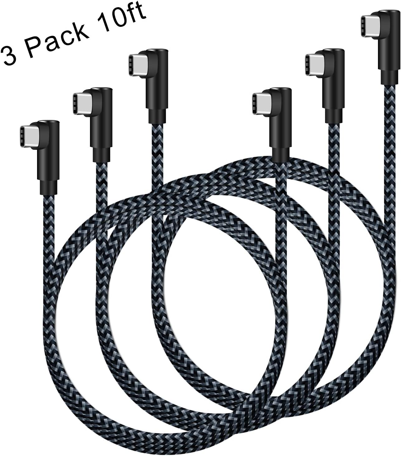 3 Pack 10ft USB C to USB C Cable Grey,10feet Extra Long USB C to USB C Right Angle 90 Degree Nylon Braided Charging Cord Compatible with Google Pixel 2//3//3a//2 XL//3 XL//3a XL,Nexus 6P