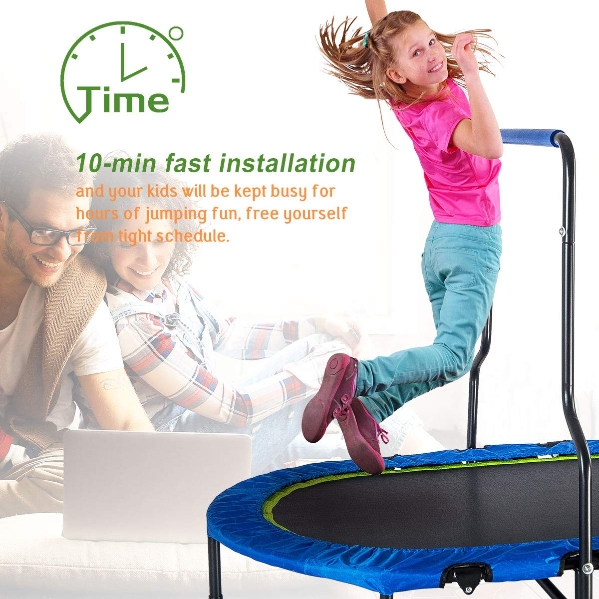 Merax Mini Rebounder Trampoline with Handle for Two Kids, Parent-Child Trampoline (Blue) by Merax (Image #4)