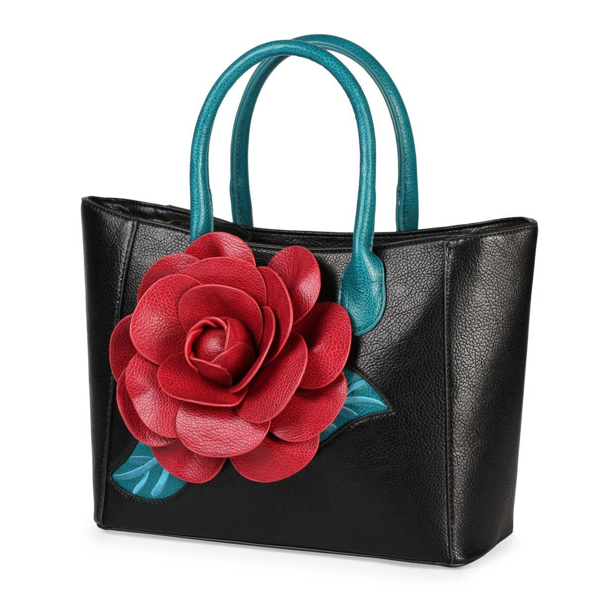 Women Handbag 3D Flower Seris PU Leather Purse Tote Bag By Vanillachocolate (Medium, Black)