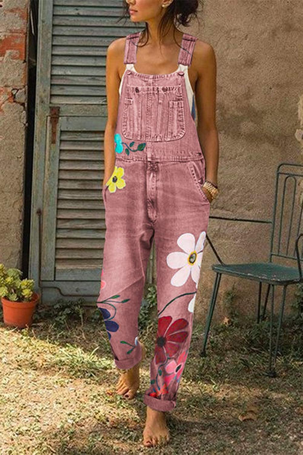 Zilcremo Women Denim Overalls Jeans Jumpsuit Dungarees Suspenders Pants Plus Size Playsuits with Pockets