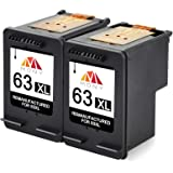 Mony Remanufactured HP 63 XL 63XL Ink Cartridges (2 Pack Black) Replacement for HP Envy 4520 4512 Deskjet 2132 3632 3630 1112