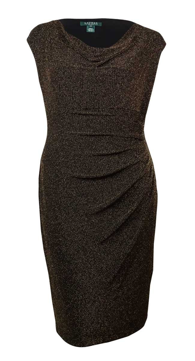 Ralph Lauren Lauren Women's Metallic Cowl Neck Ruched Dress (18W, Black/Gold)