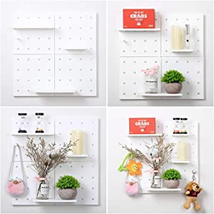 9 PCS 30x30 cm Plastic Pegboard Wall Shelves Mounted Organizer for Decoration No Drilling Easy Assembly (9, White)