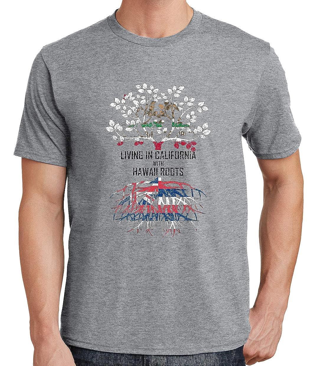 Tenacitee Mens Living in California Hawaii Roots T-Shirt