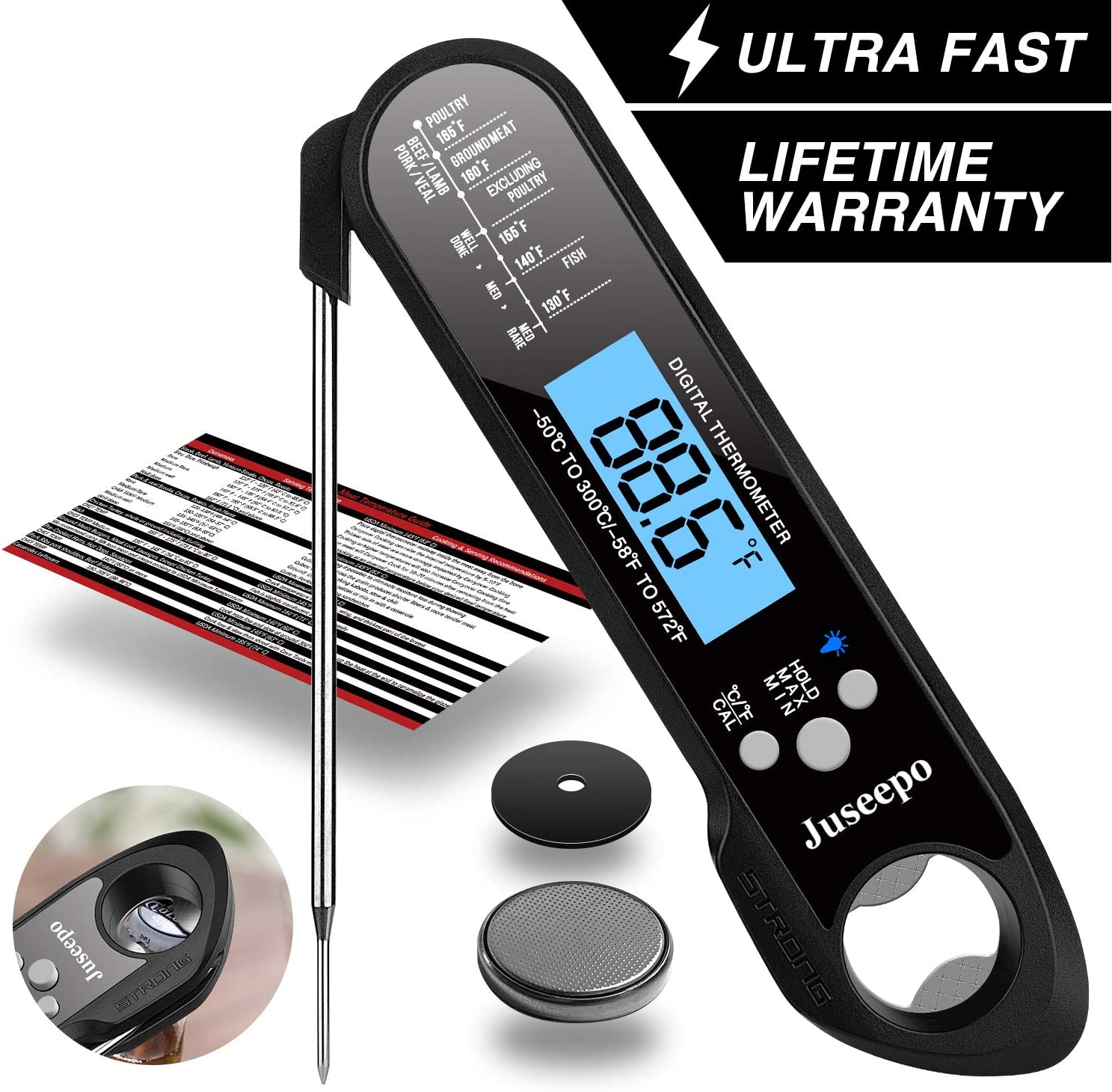 Juseepo Waterproof Digital Instant Read Meat Thermometer - Ultra Fast Thermometer with Backlight & Calibration for Kitchen, Outdoor Cooking, Grill BBQ, and Liquids(Black)