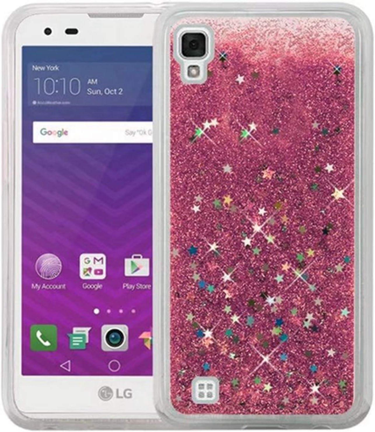 for LG LS676 X Style V20 V30 G6 LV3 STYLO 2 3 4 Phone Case Glitter Stars Dynamic Liquid Quicksand TPU Hard Back Cover Capa Shell,Pink,for LG V30