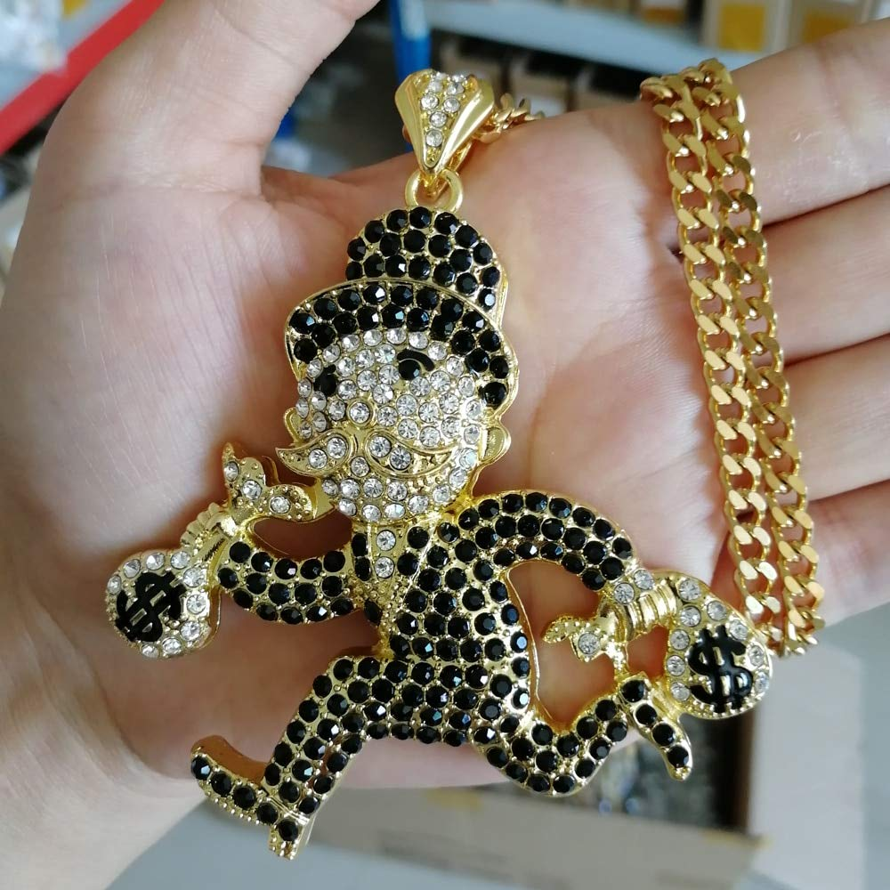 Davitu Hip Hop Running Man with Money Bag Pendant Necklace Jewelry for Men 30inch Cuban Chain N694 Metal Color: Gold Color