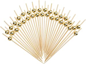 Yesland 500 Counts Cocktail Picks - 4 3/4 Inch Handmade Bamboo Toothpicks - Wooden Sticks with Gold Pearl for Party Supplies
