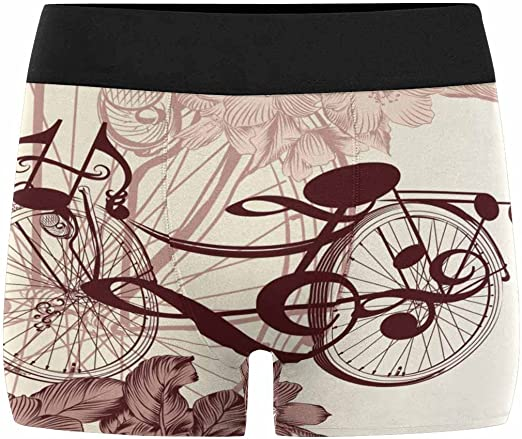 INTERESTPRINT Custom Mens All-Over Print Boxer Briefs Cute Bicycle from Notes XS-3XL