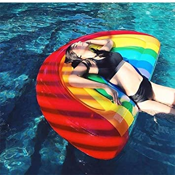 Semicircle Watermelon Rainbow Floating Row Water Flotante Inflable De La Cama Flotador De Aire PVC Inflable