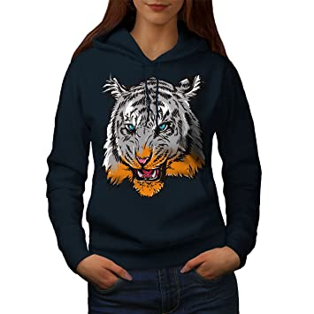 8928729363367 Wellcoda Tigre Tête Œil Animal Femme Sweat à Capuche: Amazon.fr ...