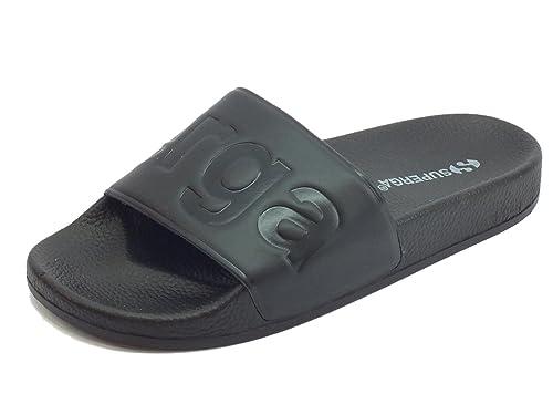 Ciabatte Superga per donna in gomma nera con scritta nera ideali per piscina