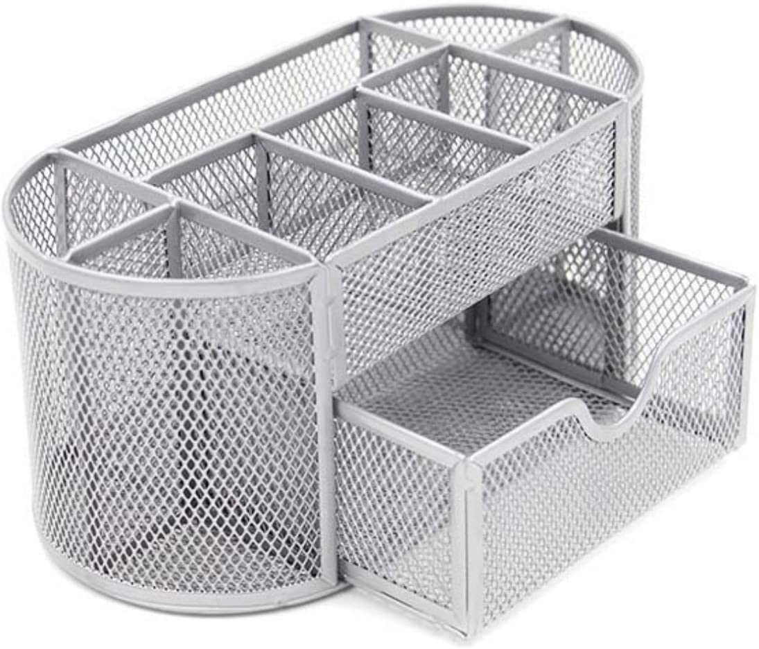 VANRA Metal Mesh Desk Supply Caddy Desktop Office Supplies Organizer Supply Holder 8 Compartments with Drawer (Silver)
