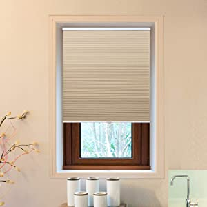 "Allesin Cellular Window Shades (Blackout) Cordless Room Darkening Blinds and Shades for Windows, Bedroom, Home (Beige 34"" W x 36"" H)"