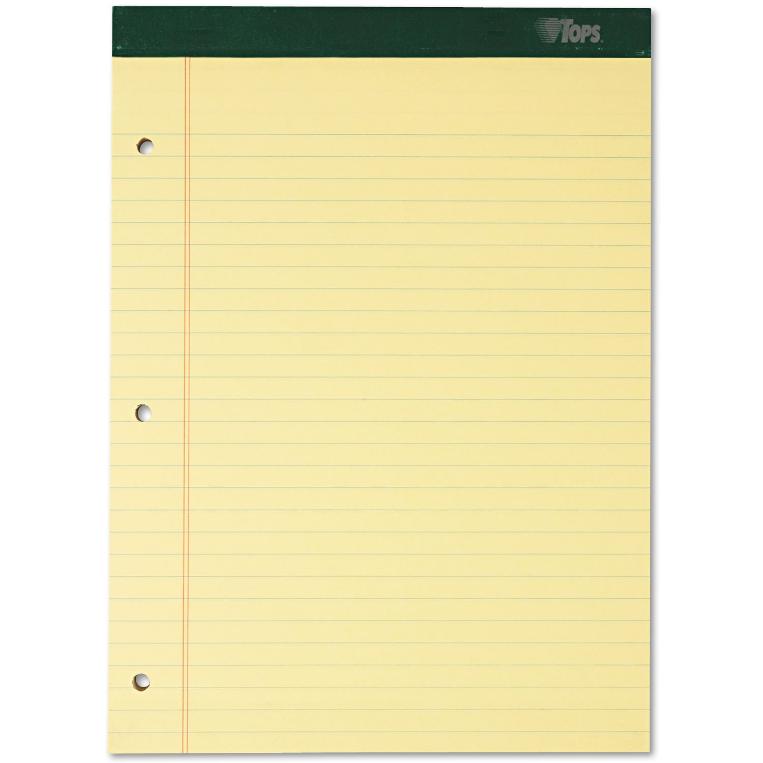 TOPS 63387 Notepads,3HP,Wide Rule,100 Shts,8-1/2''x11-3/4'',6/PK,Canary