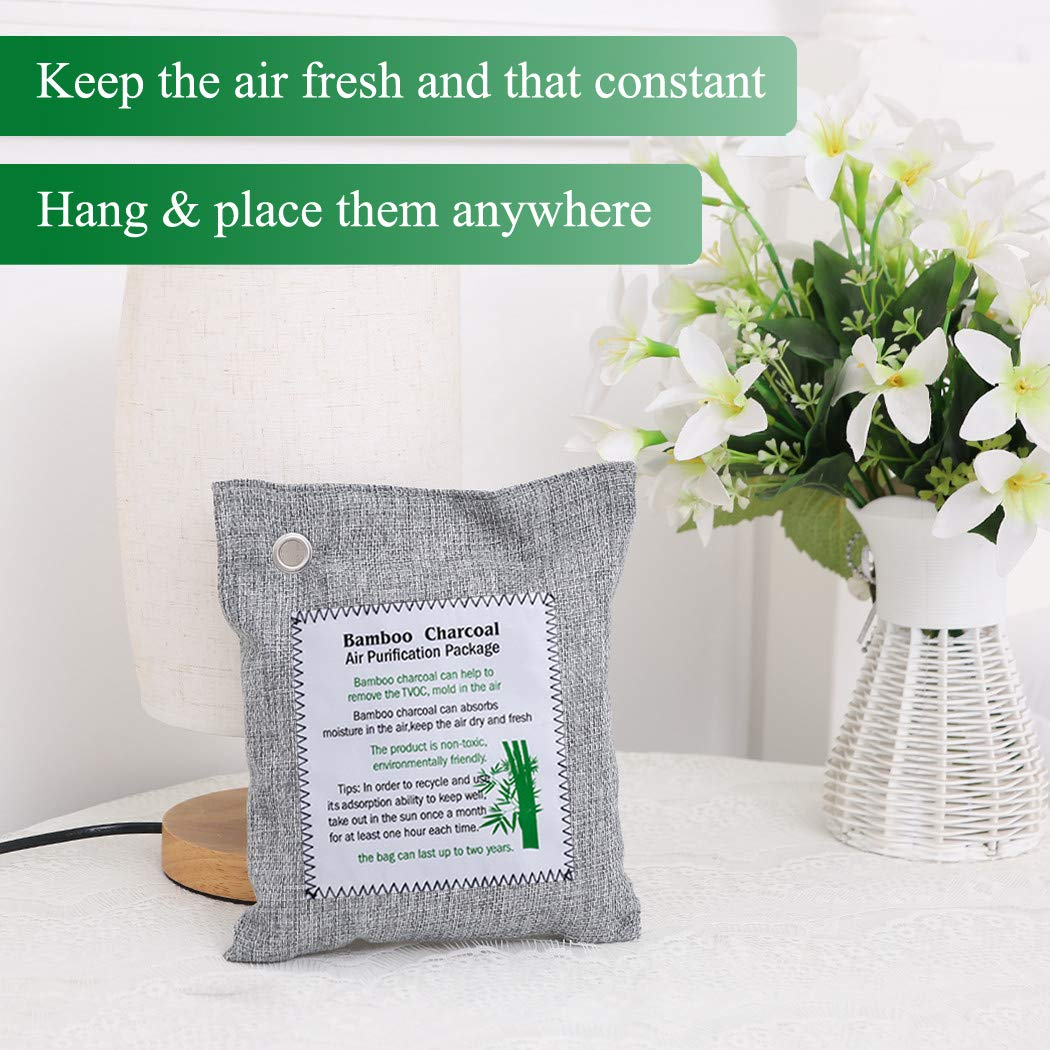 Disi Bamboo Charcoal Air Purifying Bag Activated Charcoal Odor Eliminators for Home, Pets, Car, Closet, Shoes (2X200g, 8X75g)