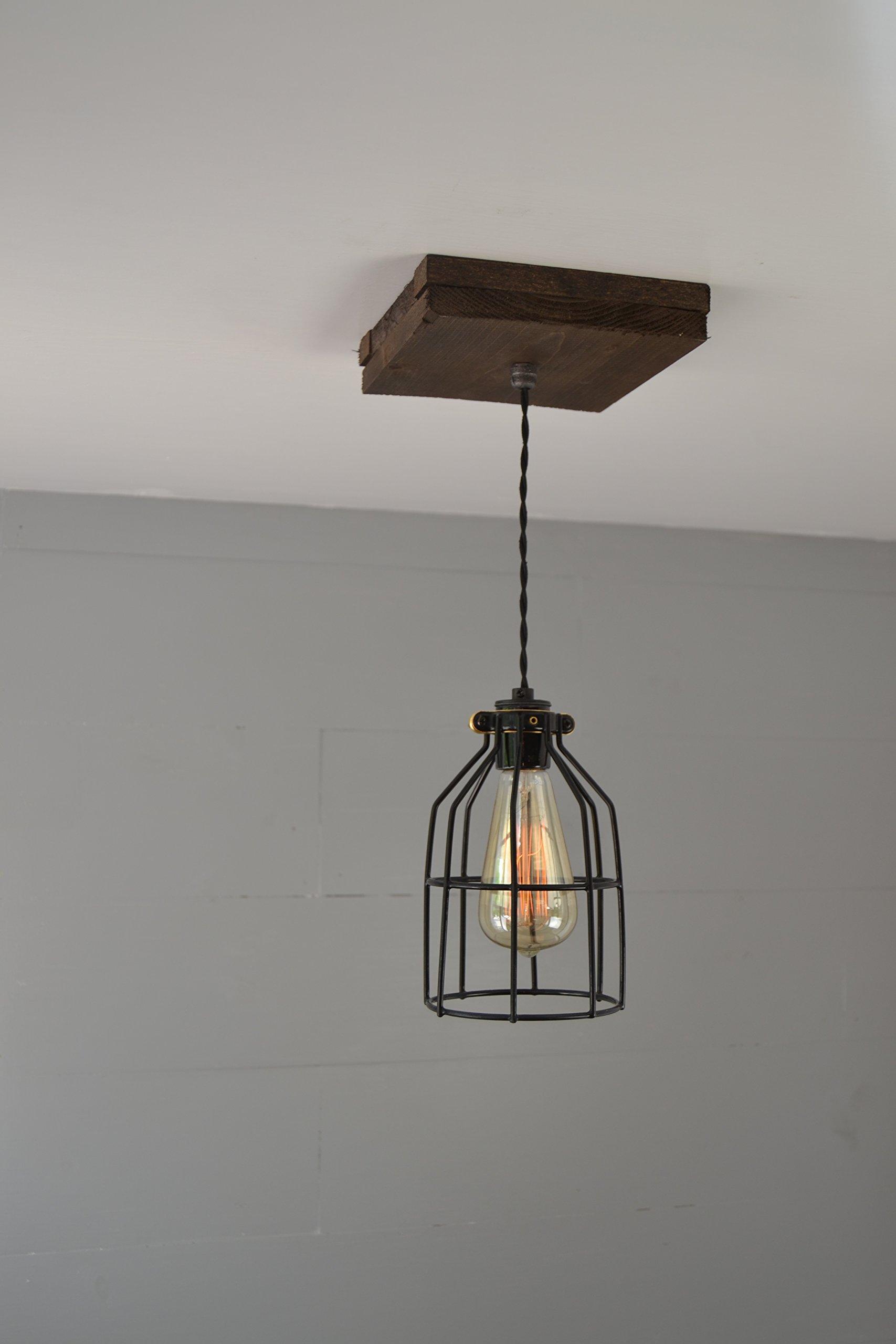 West Ninth Vintage Flushed Wood Pendant Farmhouse Fixture   w/ Metal Cage Light by West Ninth Vintage (Image #3)